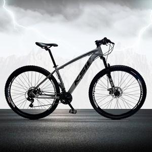 Bicicleta XLT Aro 29 Quadro 21 Alumínio 21 Marchas Suspensão Freio Disco Cinza/Preto - KSW