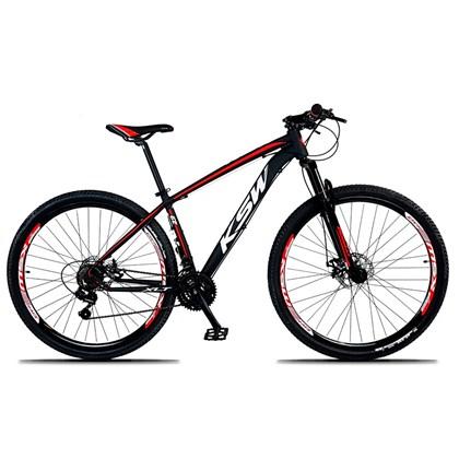 Bicicleta XLT Aro 29 Quadro 21 Alumínio 21 Marchas Suspensão Freio Disco Preto/Vermelho - KSW