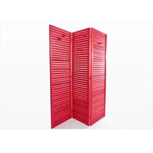 Biombo de Madeira Dominoes Stain Vermelho - Mão & Formão