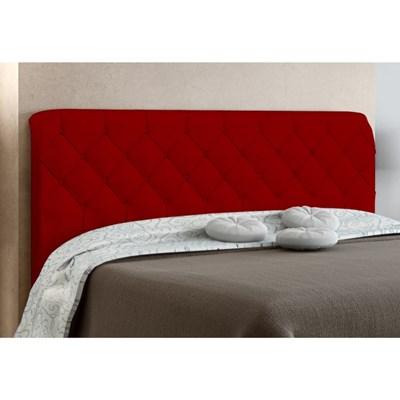 Cabeceira Box Casal Paris 140cm Vermelho Suede Amassado - JS Móveis
