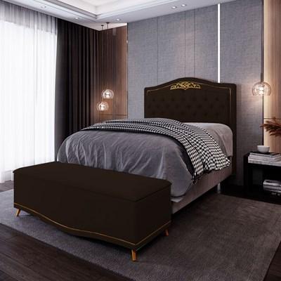 Cabeceira Cama Box Casal 140cm Com Calçadeira Baú Imperial J02 Corano Marrom Escuro - Mpozenato