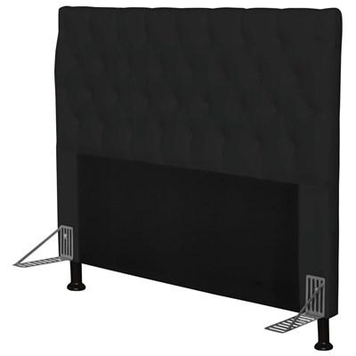 Cabeceira Cama Box Casal 140cm Cristal Corino Preto - JS Móveis