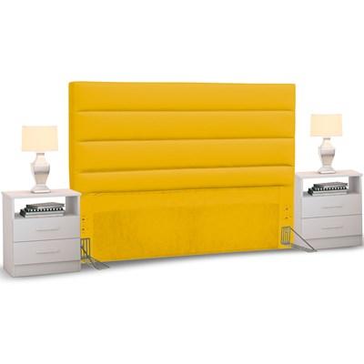 Cabeceira Cama Box Casal 140cm Greta Corano Amarelo e 2 Mesas de Cabeceira Flex DM1 Branco - Mpozenato