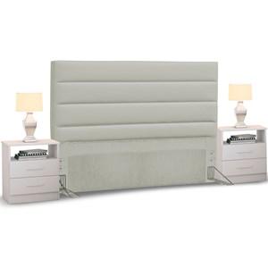 Cabeceira Cama Box Casal 140cm Greta Corano Bege e 2 Mesas de Cabeceira Branco - Mpozenato
