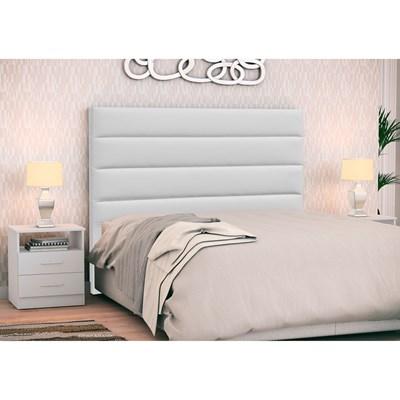 Cabeceira Cama Box Casal 140cm Greta Corano Branco e 2 Mesas de Cabeceira Flex DM1 Branco - Mpozenato