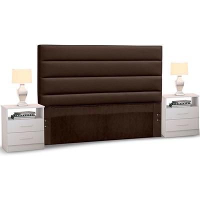 Cabeceira Cama Box Casal 140cm Greta Corano Marrom e 2 Mesas de Cabeceira Flex DM1 Branco - Mpozenato