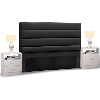 Cabeceira Cama Box Casal 140cm Greta Corano Preto e 2 Criados Branco - Mpozenato