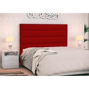 Cabeceira Cama Box Casal 140cm Greta Corano Vermelho e 2 Mesas de Cabeceira Branco - Mpozenato
