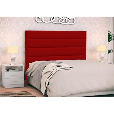 Cabeceira Cama Box Casal 140cm Greta Corano Vermelho e 2 Mesas de Cabeceira Flex DM1 Branco - Mpozenato