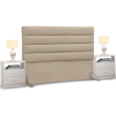 Cabeceira Cama Box Casal 140cm Greta Suede Bege e 2 Mesas de Cabeceira Flex DM1 Branco - Mpozenato