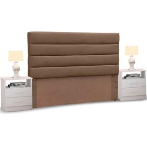 Cabeceira Cama Box Casal 140cm Greta Suede Marrom Chocolate e 2 Criados Branco - Mpozenato