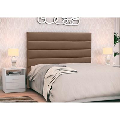 Cabeceira Cama Box Casal 140cm Greta Suede Marrom Chocolate e 2 Mesas de Cabeceira Branco - Mpozenato