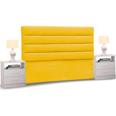Cabeceira Cama Box Casal 140cm Greta Suede Ouro e 2 Mesas de Cabeceira Branco - Mpozenato