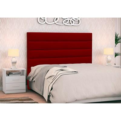 Cabeceira Cama Box Casal 140cm Greta Suede Vermelho e 2 Mesas de Cabeceira Flex DM1 Branco - Mpozenato