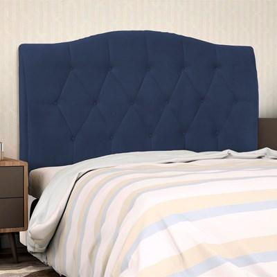 Cabeceira Cama Box Casal King 195cm Colônia Suede Azul Marinho - D'Monegatto