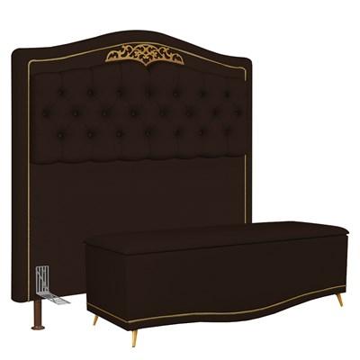 Cabeceira Cama Box Casal King 195cm Com Calçadeira Baú Imperial J02 Corano Marrom Escuro - Mpozenato