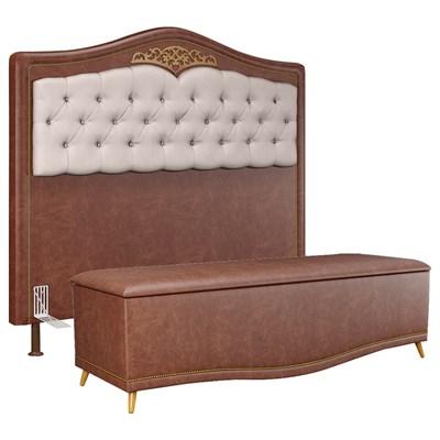 Cabeceira Cama Box Casal King 195cm Com Calçadeira Baú Imperial J02 Facto Marrom/Bege - Mpozenato