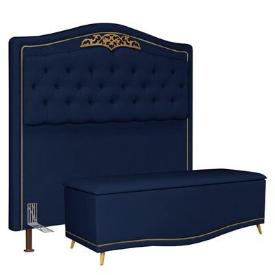 Cabeceira Cama Box Casal King 195cm Com Calçadeira Baú Imperial J02 Suede Azul - Mpozenato