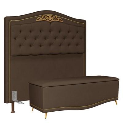 Cabeceira Cama Box Casal King 195cm Com Calçadeira Baú Imperial J02 Suede Chocolate - Mpozenato