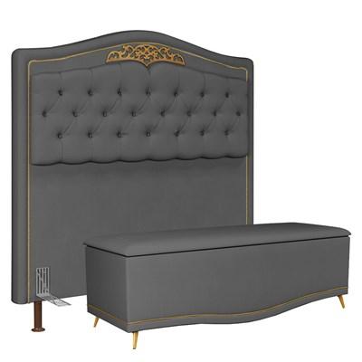 Cabeceira Cama Box Casal King 195cm Com Calçadeira Baú Imperial J02 Suede Chumbo - Mpozenato