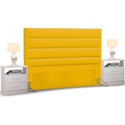 Cabeceira Cama Box Casal King 195cm Greta Corano Amarelo e 2 Mesas de