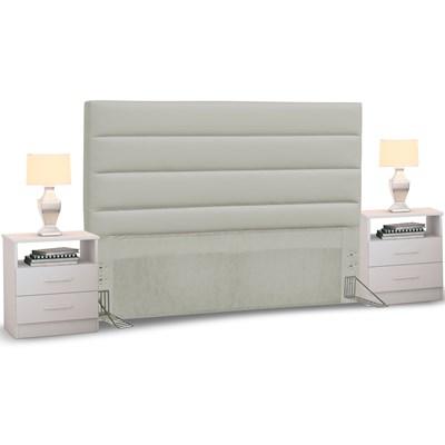Cabeceira Cama Box Casal King 195cm Greta Corano Bege e 2 Mesas de Cabeceira Flex DM1 Branco - Mpozenato
