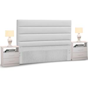Cabeceira Cama Box Casal King 195cm Greta Corano Branco e 2 Criados Mudos Branco - Mpozenato