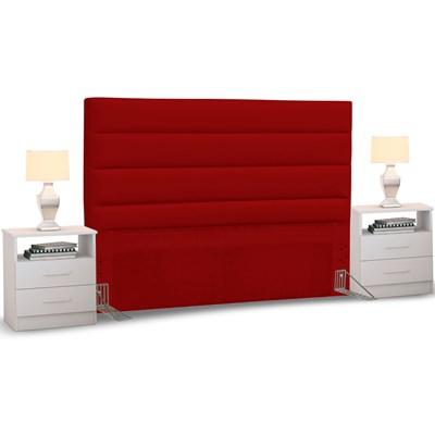 Cabeceira Cama Box Casal King 195cm Greta Corano Vermelho e 2 Mesas de Cabeceira AD1 Branco - Mpozenato