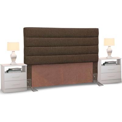 Cabeceira Cama Box Casal King 195cm Greta Linho Marrom e 2 Mesas de Cabeceira Flex DM1 Branco - Mpozenato
