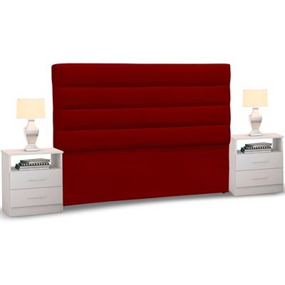 Cabeceira Cama Box Casal King 195cm Greta Suede Vermelho e 2 Mesas de Cabeceira Branco - Mpozenato