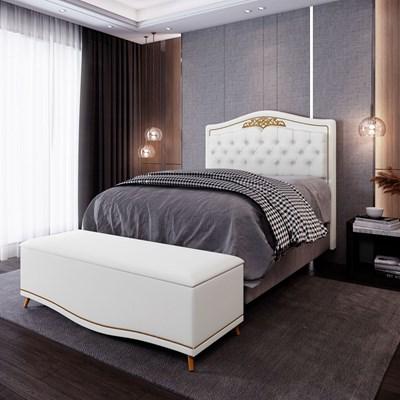 Cabeceira Cama Box Casal Queen 160cm Com Calçadeira Baú Imperial J02 Corano Branco - Mpozenato
