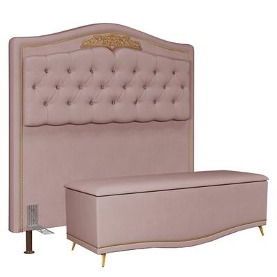 Cabeceira Cama Box Casal Queen 160cm Com Calçadeira Baú Imperial J02 Suede Rosê - Mpozenato