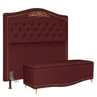 Cabeceira Cama Box Casal Queen 160cm Com Calçadeira Baú Imperial J02 Suede Vinho - Mpozenato