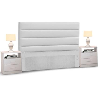 Cabeceira Cama Box Casal Queen 160cm Greta Corano Branco e 2 Mesas de Cabeceira Flex DM1 Branco - Mpozenato
