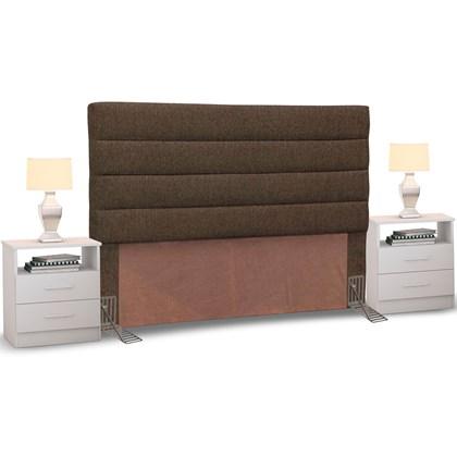 Cabeceira Cama Box Casal Queen 160cm Greta Linho Marrom e 2 Criados Branco - Mpozenato