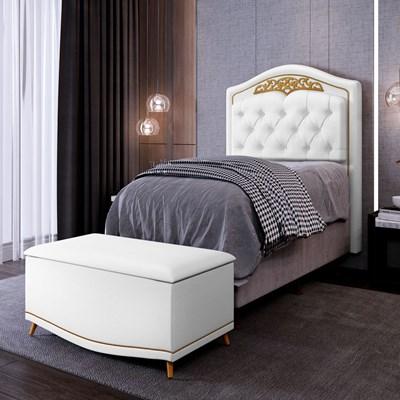 Cabeceira Cama Box Solteiro 90cm Com Calçadeira Baú Imperial J02 Corano Branco - Mpozenato