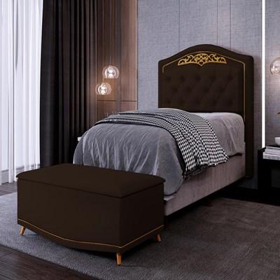 Cabeceira Cama Box Solteiro 90cm Com Calçadeira Baú Imperial J02 Corano Marrom Escuro - Mpozenato