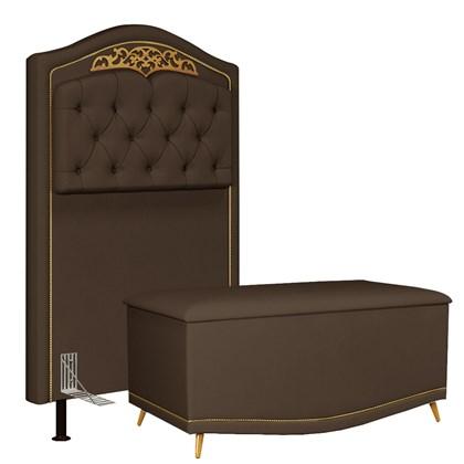 Cabeceira Cama Box Solteiro 90cm Com Calçadeira Baú Imperial J02 Suede Chocolate - Mpozenato