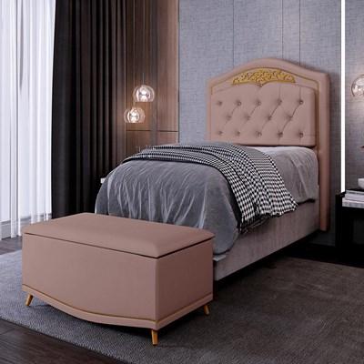 Cabeceira Cama Box Solteiro 90cm Com Calçadeira Baú Imperial J02 Suede Rosê - Mpozenato
