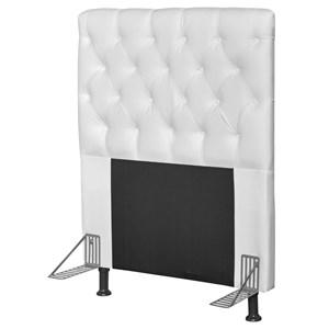 Cabeceira Cama Box Solteiro 90cm Cristal Corino Branco - JS Móveis
