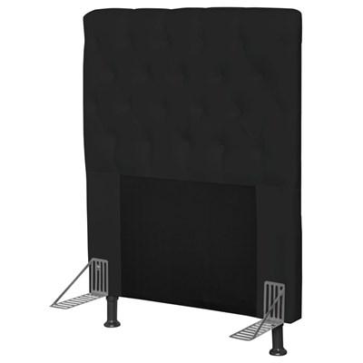 Cabeceira Cama Box Solteiro 90cm Cristal Corino Preto - JS Móveis
