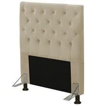 Cabeceira Cama Box Solteiro 90cm Cristal Suede Bege - JS Móveis