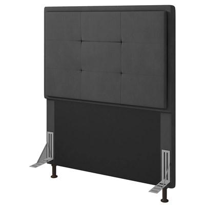 Cabeceira Cama Box Solteiro 90cm D10 Ônix Suede Cinza - Mpozenato