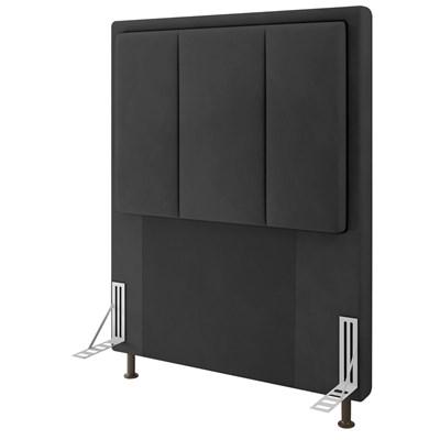 Cabeceira Cama Box Solteiro 90cm D10 Opala Suede Preto - Mpozenato