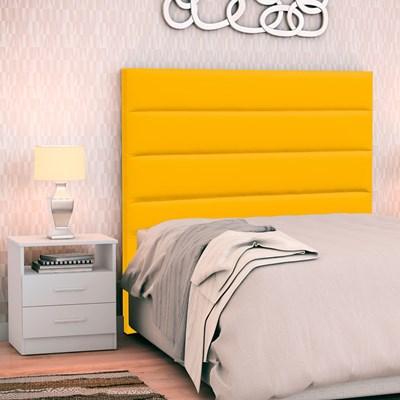 Cabeceira Cama Box Solteiro 90cm Greta Corano Amarelo e 1 Mesa de Cabeceira AD1 Branco - Mpozenato