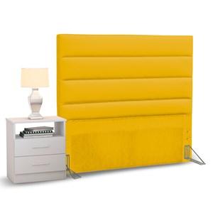 Cabeceira Cama Box Solteiro 90cm Greta Corano Amarelo e 1 Mesa de Cabeceira Branco - Mpozenato