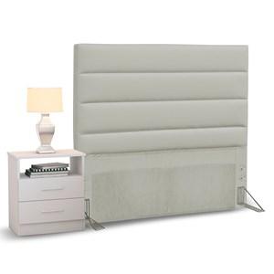 Cabeceira Cama Box Solteiro 90cm Greta Corano Bege e 1 Criado Branco - Mpozenato