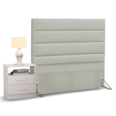 Cabeceira Cama Box Solteiro 90cm Greta Corano Bege e 1 Mesa de Cabeceira Branco - Mpozenato