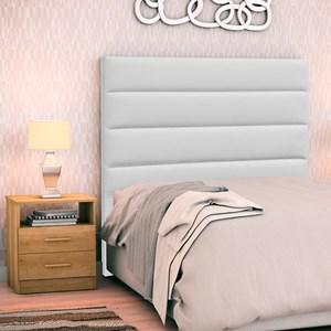 Cabeceira Cama Box Solteiro 90cm Greta Corano Branco e 1 Criado Amêndoa - Mpozenato