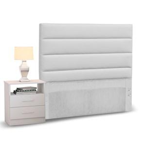 Cabeceira Cama Box Solteiro 90cm Greta Corano Branco e 1 Mesa de Cabeceira Branco - Mpozenato